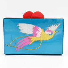 factory wholesale handmade acrylic joints figure birds clutch evening party alibaba handbag