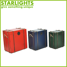 Large Wooden Storage Trunks with Printed Canvas for Home Decoration