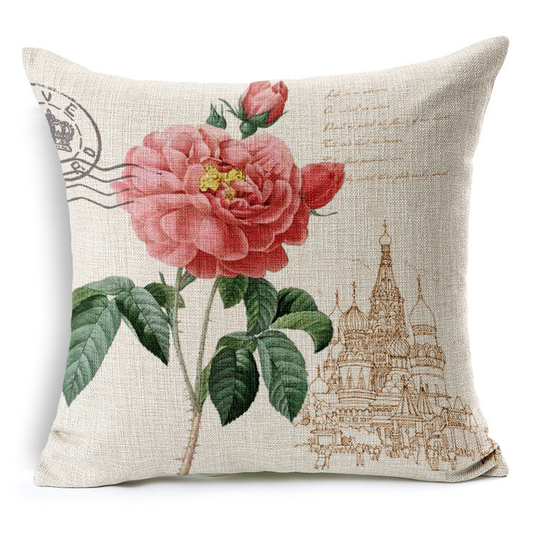 Standard size linen sofa pillow covers screen printing flower