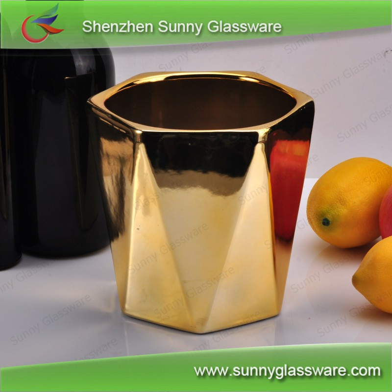 Christmas decoration luxury gold ceramic flower pot