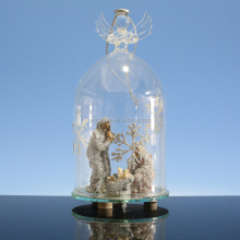 christmas LED glass angel with manger inside for home decoration