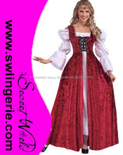 Adult women Std Medieval Lady Red Lace-up Adult Costume Renaissance Or Medieval Costume CC007