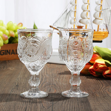 Factory 2017 clear sun flower pineapple design red wine/whisky/Cocktail/Martini glass cup with stem for table party decoration