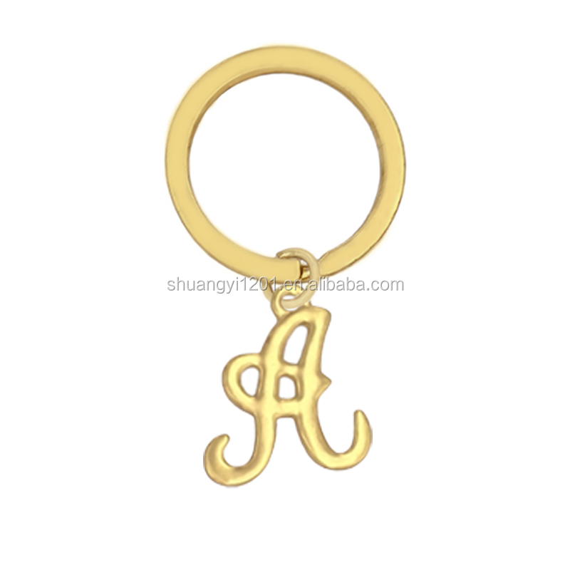 Zinc Alloy Gold Plating Initial Alphabet Letter A Charms Key Chain & Key Rings For Cars