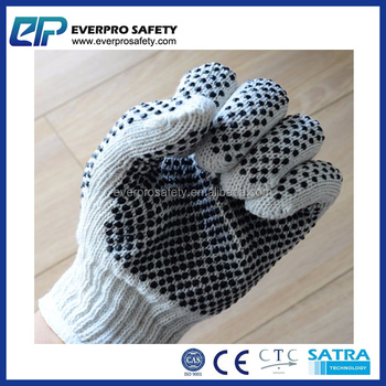 Double Side Bleached Cotton Black PVC Dotted Gloves