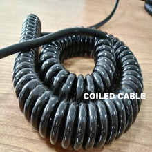 PU material insulation jacket spiral curly power cable in shining color
