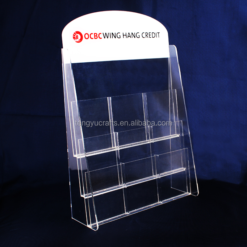 custom plastic multi pocket brochure holder standing 3 tier clear acrylic display newspaper stand with logo