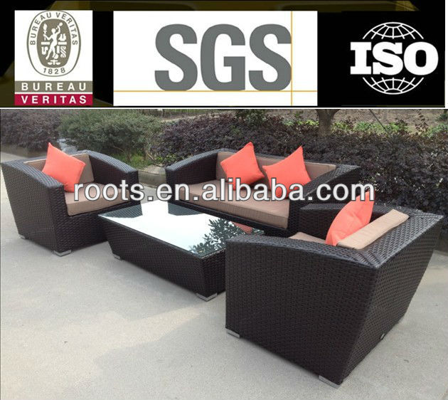5 pc Outdoor Patio Yard Sofa Chair Furniture Set Black Rattan Wicker Glass Table