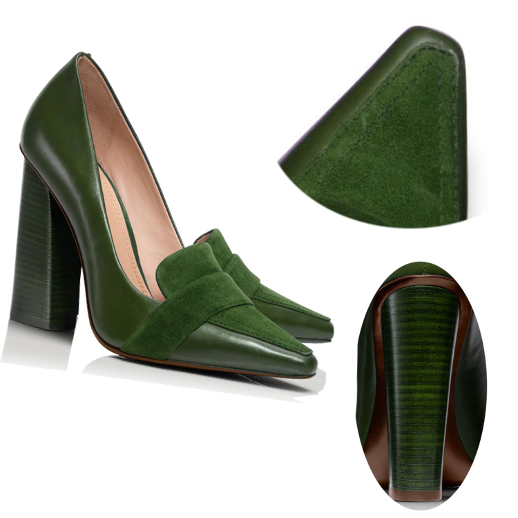 2016 fashion show model spedial shoes nice sheep and kid suede green upper square toes women shoes