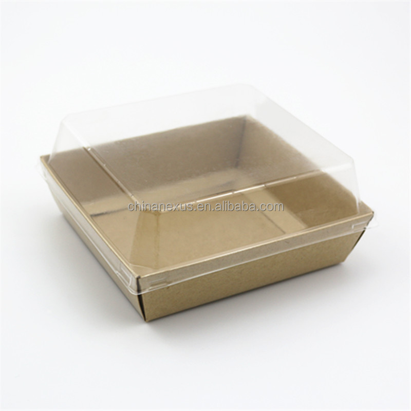 Kraft paper food tray with plastic lid