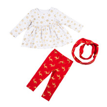 Yiwu Kapu Directly Sale New Arrival Christmas Clothing Sets Boutique Ginew year sets baby ruffle shirt with red pants