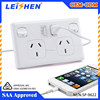 Dual usb australia power point outlet with saa certificate