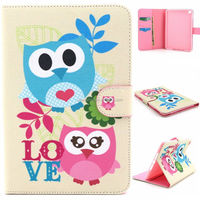 Credit card flip leather case pouch for iPad mini 4, Smile wallet case for iPad mini 4