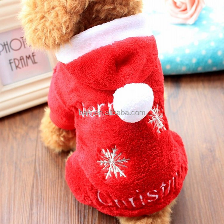 2016 New Winter Costumes Coral Fleece Dog Clothes Christmas With Four Legs