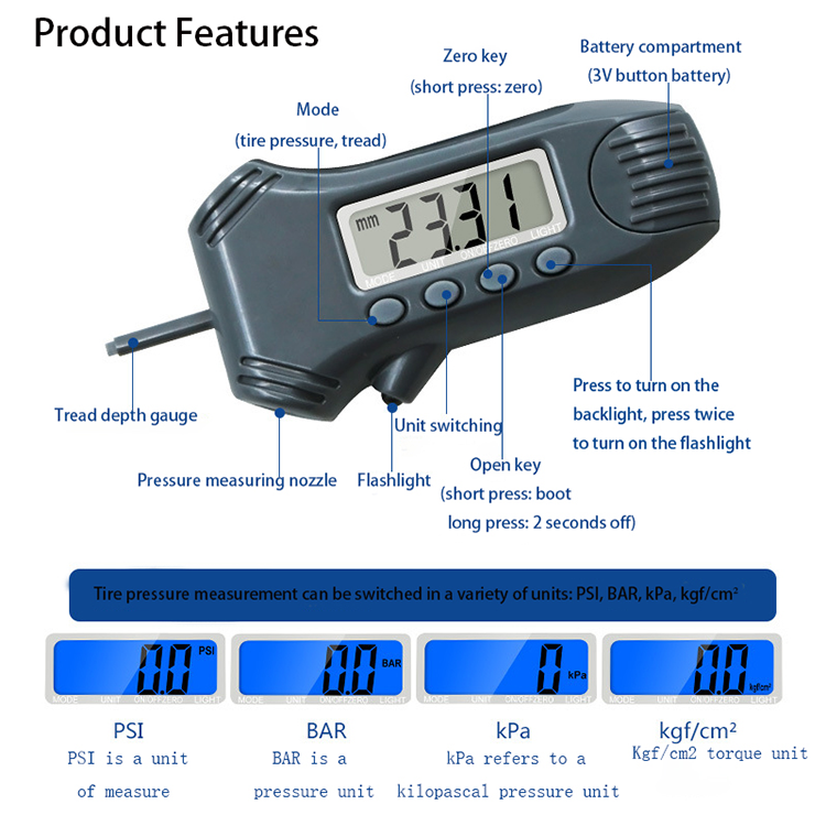 Digital tire pressure gauge tread depth gauge 3 In 1 with backlight Measuring ruler Tyre Tool Mini model flashlight Car Safety