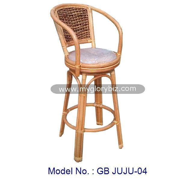 Antique Natural Rattan Bar Stool With Arm Pub High Chair, rattan antique swivel bar stool, pub chair Malaysia indoor furniture