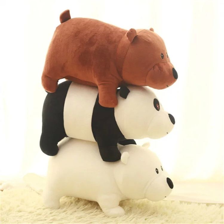 Cute 3pcs/set 25cm We Bare Bears Cartoon Bear Grizzly Gray White Teddy Bear Panda Stuffed Plush Toy Doll Birthday Gift Kids Toy