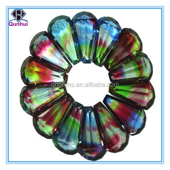 special vase shaped colorful glass cubic zirconia