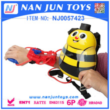 Hot selling Lovely Bee Shape plastic backpack water gun for kids