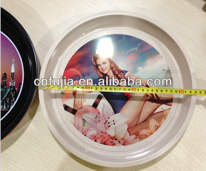 wholesale metal craft promotional gift vintage printing metal round tin tray
