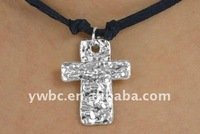 black suede leather metal cross pendant necklace accessories jewellery(A1000548)