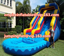 Colorful medium size inflatables, inflatable slide with pool commercial inflatable water slide ID-SLM071