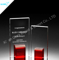 Elegant color crystal glass trophies with red base for logo engraving