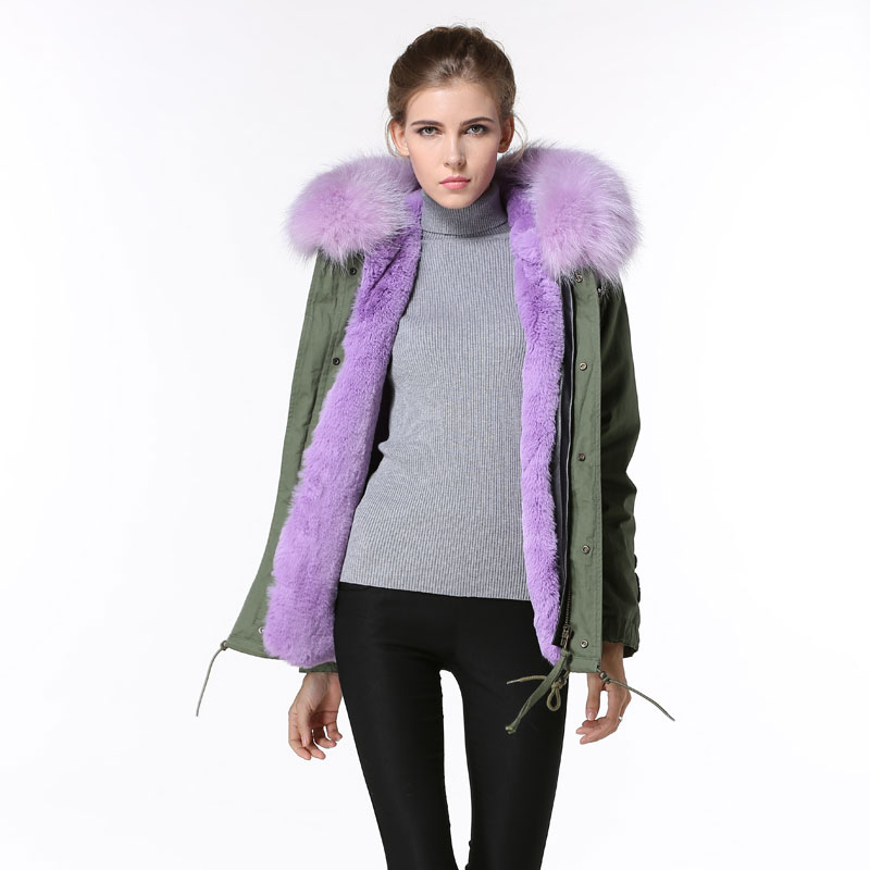 Lilac Faux Fur Lining Ladies Winter beads Short Mility High Quality purple fur parka with hoodies
