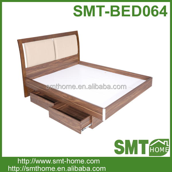 new design home furniture wood double bed designs with 2 drawers