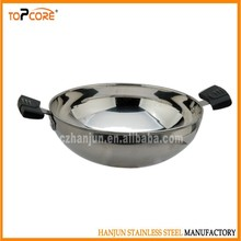 Chinese wok, stainless steel frying pan with two ears