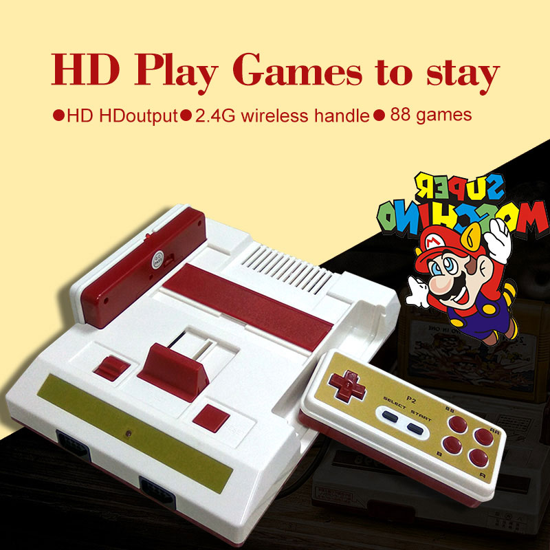 CoolBabyHD HD TV game 2.4G wireless handle household double FC card game classic red and white