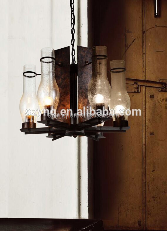 european style light pendant with iron stand glass shade with factory price