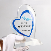 Blue and white crystal heart shape high-end atmosphere grade cup trophy crystal