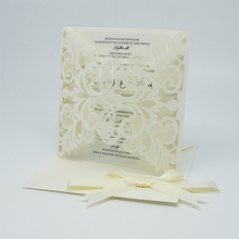 Cheap laser cut cards wedding invitations with ribbon