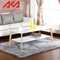 Wood style modern nature MDF small white end table