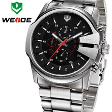 Weide Promotion Men Watches Luxury Stainless Steel Watch Case 316L Stainless Steel Back Watch Man