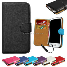 Luxury Wallet Genuine Real Leather Case,Book Leather Case For Samaung Galaxy S3 mini i8190