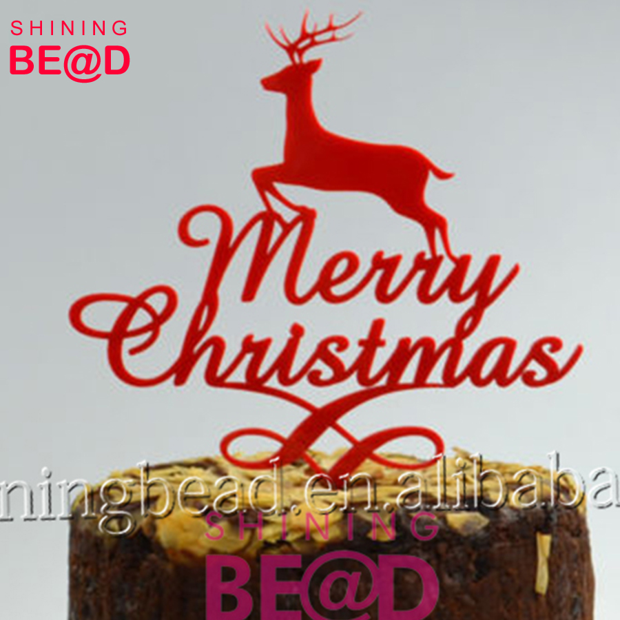 Alibaba Lovely Cute Merry Christmas With Deer Pudding & Cake Toppers Wholesale