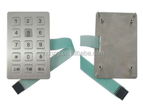 OEM 3x5 marix stainless steel IP66 waterproof android tablet keypad
