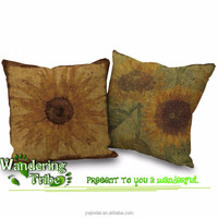"Wandering Tribe Home Decor Cushion Covers Shell Cotton Linen retro Yellow Sunflower 18"" X 18"" chair cushion cover"
