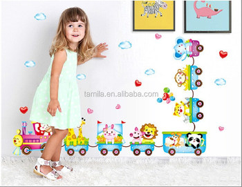 Removable lovely animals train wall sticker for kids room whalesales