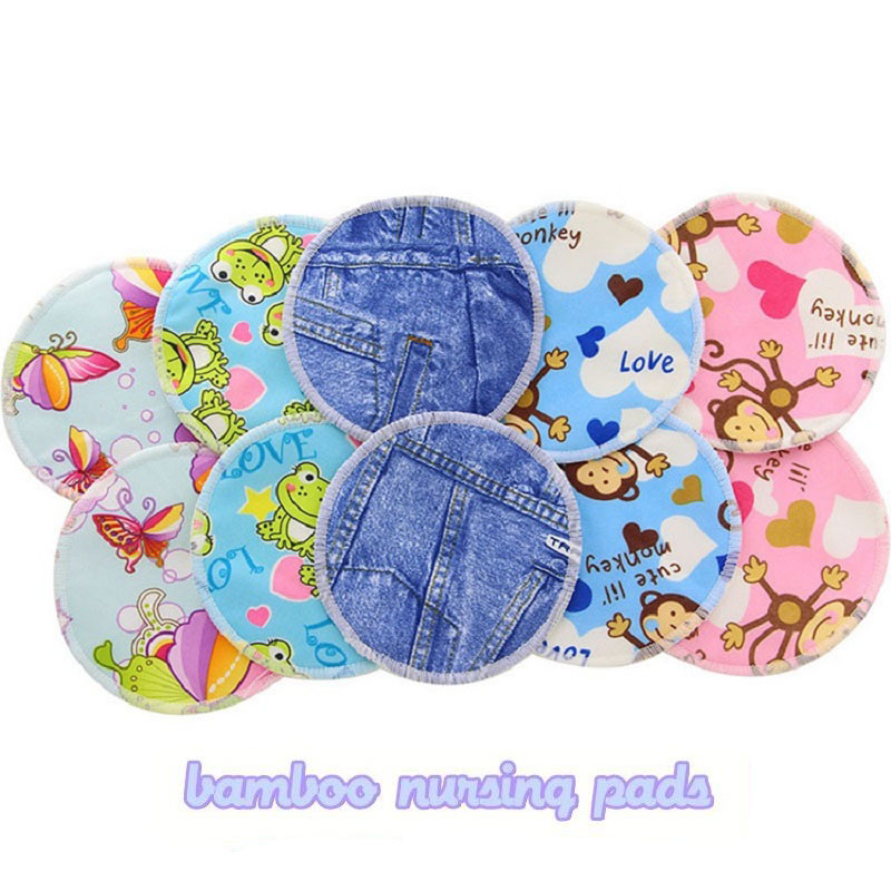 Print Floral Breast Feeding Pads Reusable Bamboo Pad For Woman Washable