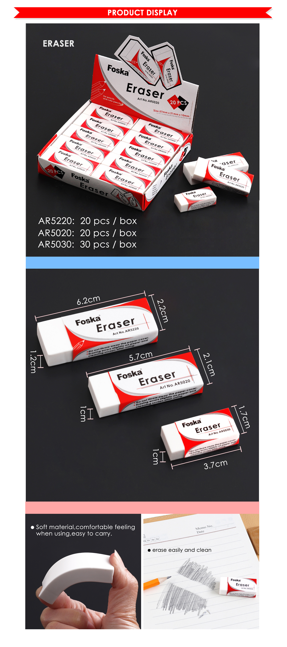 Foska White Soft TPR School Pencil Eraser