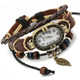 Handmade Brown Leather Antique Vintage Watches for Women Leather Strap Bracelet Watch Women Rope Bracelet Watch