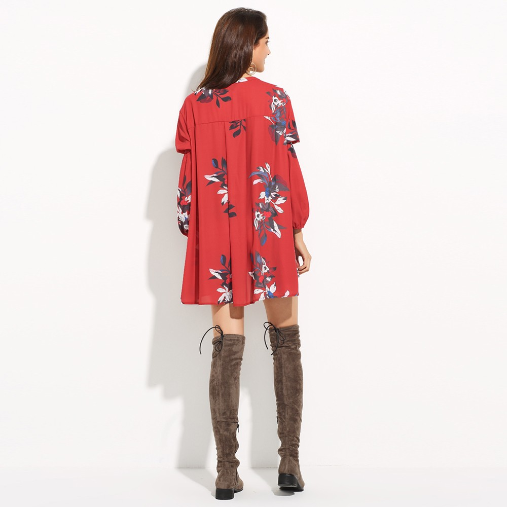 HAODUOYI New Fashion Women Floral Print Sexy Hollow Out Asymmetrical Lantern Sleeve Casual Mini Chiffon Dress for Wholesale