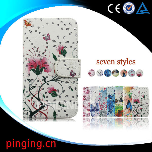 Beautiful design FLip leather case for Huawei Ascend Y520, Wallet leather case for Huawe ascend Y520