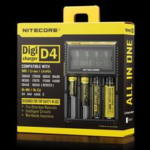 100% Original Nitecore D4 Battery Charger LCD Intelligent Charger Li-ion 18650 14500 16340 26650 AAA AA 12V Battery Charger