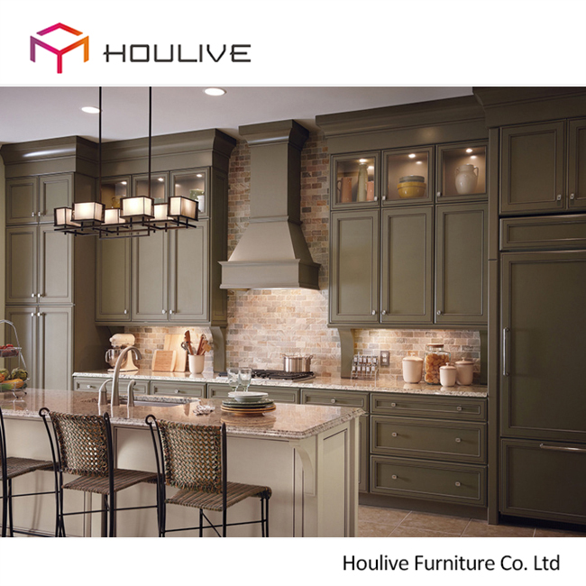 Olive Green Color Plywood Carcass Good Quality Solid Wood Kitchen