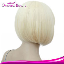 New product Wholesale Cheap human hair wig synthetic cosplay short white straight wigs