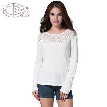 Long sleeve light cotton lace decoration tops
